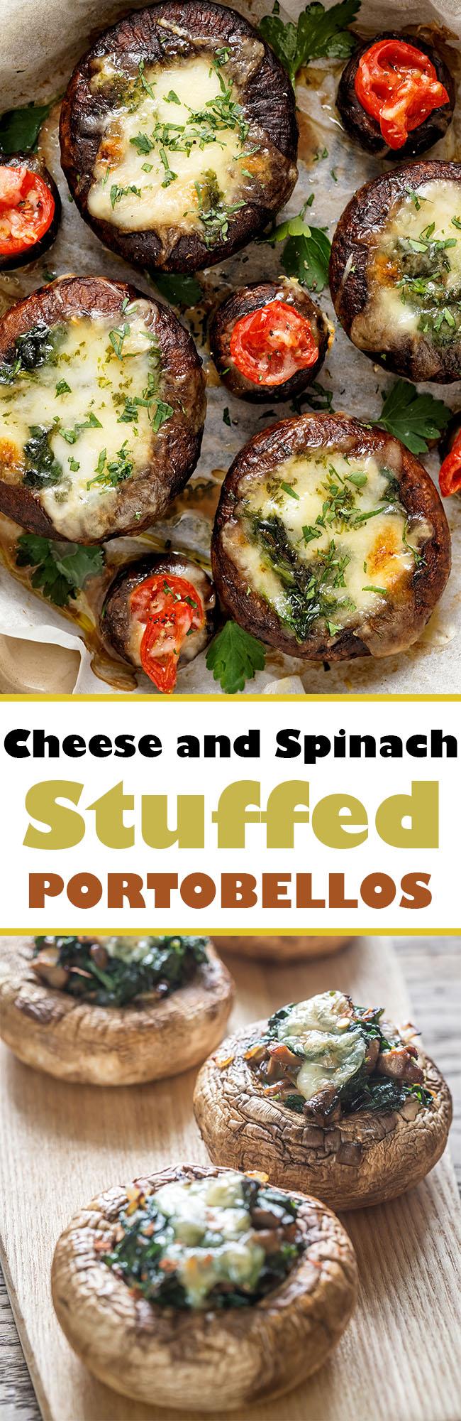 Cheese and Spinach #Stuffed #Portobellos